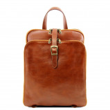 Image of 3 Compartments leather backpack Honey