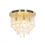 Zdjęcie Art Deco Ceiling Lamp 30cm Brass with Crystal Beads Medusa
