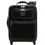 Image de 4 Wheels vertical leather trolley Black