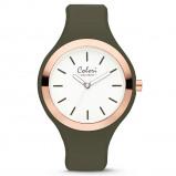 Afbeelding van Colori 5 COL502 Horloge Macaron staal/siliconen rosé olijfgroen 44 mm