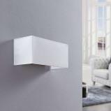 Afbeelding van Adea Stoffen wandlamp in wit, Lampenwelt.com, voor slaapkamer, stof, metaal, E27, 60 W, energie efficiëntie: A++, B: 30 cm, H: 13.5 cm