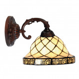 Afbeelding van Clayre & Eef diamond 1 wandlamp in Tiffany stijl, voor woon / eetkamer, glas, hars, E27, 60 W, energie efficiëntie: A++, H: 15 cm