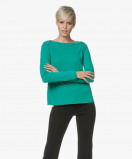 Image of Majestic Filatures T shirt Green Jersey Long Sleeve in Cotton and Cashmere