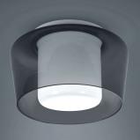 Afbeelding van Helestra helestra Canio Glazen plafondlamp, rookgrijs, voor woon / eetkamer, glas, metaal, E27, 60 W, energie efficiëntie: A++, H: 19 cm