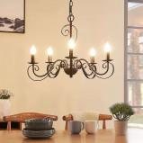 Afbeelding van 5 lamps kroonluchter Caleb, roestkleurig, Lampenwelt.com, voor hal, metaal, E14, 40 W, energie efficiëntie: A++, H: 43.8 cm