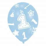 Afbeelding van Amscan ballonnen 1 jaar blauw 6 stuks 28 cm