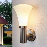 Afbeelding van Aantrekkelijke wandlamp Juliane voor buiten, Lampenwelt.com, roestvrij staal, glas, E27, 40 W, energie efficiëntie: A++, B: 18 cm, H: 33 cm