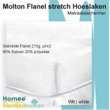 Afbeelding van Bedworld Collection 150x220 Molton Flanel Stretch Hoeslaken 210g. p/m2 Wit