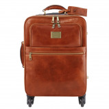 Image of 4 Wheels vertical leather trolley Honey
