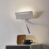 Afbeelding van ACB ILUMINACIÓN ariel witte LED wandlamp met leeslamp, voor slaapkamer, metaal, 11 W, energie efficiëntie: A+, B: 32 cm, H: 44 cm