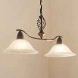 Afbeelding van 2 lichts Eetkamerlamp Dunja met E27 LED lampen, Lampenwelt.com, voor woon / eetkamer, metaal, glas, E27, 11 W, energie efficiëntie: A+, L: 83 cm, B: 33 cm