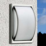 Afbeelding van Albert Leuchten gebogen buitenwandlamp Piegare, glas, roestvrij staal, E27, 75 W, energie efficiëntie: A++, B: 18 cm, H: 28 cm