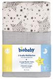 Afbeelding van bio baby Hydrofiele luier sterren grijs 80x70cm 2 stuks