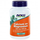 Afbeelding van Now Calcium 500mg en magnesium 250mg 100 tabletten