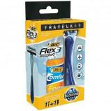 Afbeelding van Bic Travelkit Flex 3 + Comfort Foam Sensitive 90 Ml (1set)