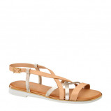 Afbeelding van 5th Avenue leren sandalen beige/goud