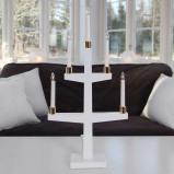 Afbeelding van Best Season in wit LED kandelaar Halla met vijf lampen, hout, metaal, E10, 0.2 W, energie efficiëntie: A+, L: 35 cm, B: 9 H: 70 cm