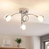 Afbeelding van 3 traps dimbare LED plafondlamp Ksenija, Lampenwelt.com, voor slaapkamer, acryl, metaal, 3.2 W, energie efficiëntie: A+, H: 25.5 cm