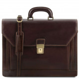 Bilde av 2 compartments leather briefcase with front pocket Dark Brown