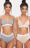 Imagine din 2 Pack Nude & Grey Basic Jersey Bra And Knicker Set