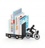 Afbeelding van Balvi boekensteun Postbode op fiets Zwart Metaal
