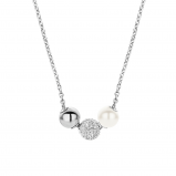 Image of Ti Sento Silver Collection Milano Silver, Crystal and Pearl Necklace