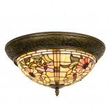 Afbeelding van Clayre & Eef mira plafondlamp in Tiffany stijl, voor woon / eetkamer, glas, metaal, E14, 40 W, energie efficiëntie: A++, H: 19 cm