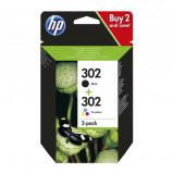 Afbeelding van HP 302 INK 2 PAC inkt cartridge pack (zwart + kleur)