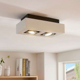 Afbeelding van 2 lamps LED spot Vince in wit, Lampenwelt.com, voor hal, aluminium, GU10, 5 W, energie efficiëntie: A++, L: 25 cm, B: 14 cm, H: 8.5 cm