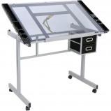 Afbeelding van AA Commerce Teken Tafel Glazen Tafelblad Werkblad Workstation Lessenaar