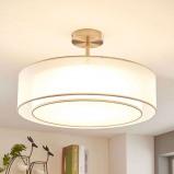 Afbeelding van 3 traps dimbare LED plafondlamp Pikka, wit, Lampenwelt.com, voor woon / eetkamer, textiel, metaal, 12 W, energie efficiëntie: A+, H: 30.5 cm