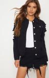Imagine din Abegaila Black Distress Oversized Denim Jacket