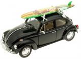 Billede af 1959 Volkswagen Beetle w/ Surfboard, black 1:24 Welly