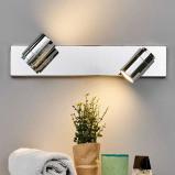 Afbeelding van 2 lichts Badkamer wandlamp Dejan van chroom, Lampenwelt.com, voor badkamer, metaal, GU10, 35 W, energie efficiëntie: A++, B: 45 cm, H: 9 cm