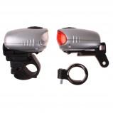 Afbeelding van Dyto fietsverlichtingsset led opwindbaar zilver/zwart 4 delig