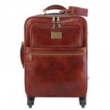 Image de 4 Wheels vertical leather trolley Brown