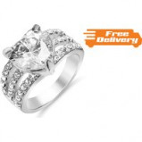 Image of 2.5ct Brilliant Cut Pink Simulated Sapphire Ring Free Delivery!