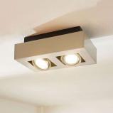Afbeelding van 2 lamps LED spot Vince, gesatineerd nikkel, Lampenwelt.com, voor hal, metaal, aluminium, GU10, 5 W, energie efficiëntie: A++, L: 25 cm, B: 14 H: 8.5 cm