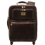 Abbildung von 4 Wheels vertical leather trolley Dark Brown