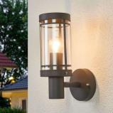 Afbeelding van Aantrekkelijke buitenwandlamp Djori in donkergrijs, Lampenwelt.com, roestvrij staal, polycarbonaat, E27, 60 W, energie efficiëntie: A++, B: 10.4 cm, H: 28.5 cm