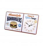 Afbeelding van Balvi wandklok retro metaal Hamburgers