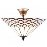 Afbeelding van Clayre & Eef plafondlamp Kisa, Tiffany stijl, afstand, voor woon / eetkamer, glas, ijzer, E14, 40 W, energie efficiëntie: A++, H: 29 cm