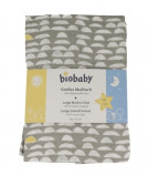 Afbeelding van bio baby Hydrofiele luier grijs/wit 80x70cm 1 stuk