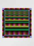 Imagem de Vlisco Scarf stripe green128x128cm Green/Pink African print fabric Silk Scarves Geometrical