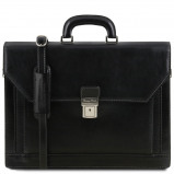 Immagine di 2 compartments leather briefcase with front pocket Black