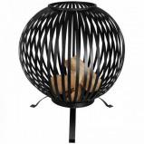 Afbeelding van Esschert Design Tuinhaard met houtopslag zwart FF410