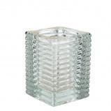 Afbeelding van Q lights square ribbed glass transparant