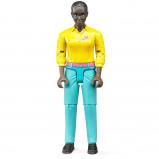 Afbeelding van Bruder Vrouw met donkere huidskleur en turqoise jeans