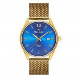 Afbeelding van Mats Meier Castor heren horloge blauw/goudkleurig mesh