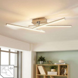 Afbeelding van 3.lamps LED plafondlamp Laurenzia, Lampenwelt.com, voor woon / eetkamer, metaal, acryl, 5 W, energie efficiëntie: A+, L: 64.5 cm, B: 63.5 H: 12.8 cm